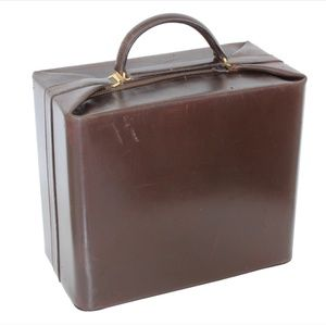 Hermes Box Leather Train Case Vanity Travel Bag